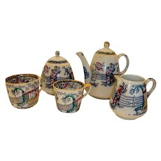 WONDERFUL antique Tea Set ~Polychrome Tea House Pattern ~ Tea Pot, Creamer, Sugar, 2 cups