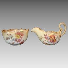 Sugar & Creamer Set ~ Earthenware ~ Floral Decoration C2020 ~ Doulton Burslem England 1891-4902