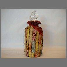 Fantastic Velvet and Crochet Covered Glass Perfume Bottle