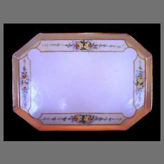 Exquisite Eight Sided Pierced-Footed Limoges Porcelain Tray ~ Hand Painted with Yellow Roses ~ T & V Tressemann & Vogt 1892-1908