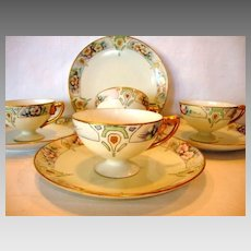 Dessert Set ~ Bavarian Porcelain ~ 4 Footed Cups and 4 Plates ~ Hand painted with flowers and Art Deco Design ~ Rosenthal Selb  Bavaria 1927 Fischer & Mieg Epiag Pirkenhammer Austria  1910-1935