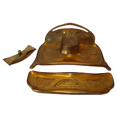 Bronze Desk Set ~ Inkwell #3183 With Pen Holder # 3185  and Blotter ~ Bradley and Hubbard 1900-1940