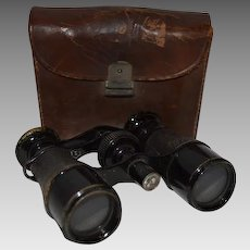 French Field  / Binoculars / Opera  Glasses in Leather Case ~ Iris Paris France 1800s and early 1900s