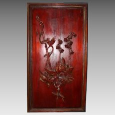 Astonishing antique Asian carved panel with plant motif ~ Circa 1880's, Bamboo in relief , Leaves with Flowers.