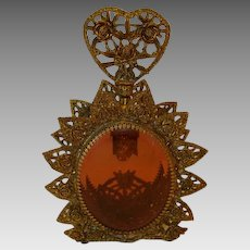 Magnificent Ornate Gold Gilt Filigree Perfume Casket with Amber Beveled Glass ~ Stylebuilt Accessories Co, NY 1940-1950's
