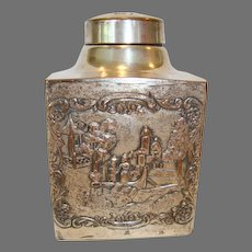 Nice Repousse Tea Caddy ~ Silver over Copper ~  WEBSTER MFG - New York 1860-1928