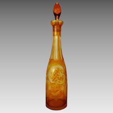 Beautiful Bohemian Glass Decanter ~ Yellow Cut to Clear ~ Bottle Shaped ~ Elk, lattice Work, Fern Designs 1920's