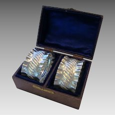 Two Beautiful .925 Sterling Silver Napkin Rings in Leather Covered Box ~JW & CO ~ JOHN WIGFALL & Co.  Sheffield, UK) - ca 1876-1919