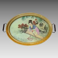 """Beautiful 17"""" Tray with Painting on Silk of Japanese Woman in Kimono playing a Koto"""