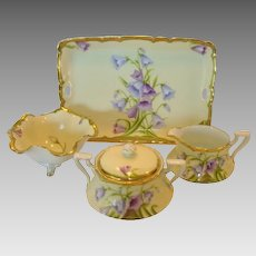 "Gorgeous Bavarian Porcelain Creamer, Sugar, Bon Bon Bowl and Tray Set ~ Hand Painted with ""Bavaria Blue"" Lavender Bellflowers ~ Tirschenreuth PORCELAIN (Germany) - ca 1903 - 1920s"