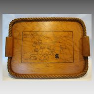 Adorable Original Hand Crafted Wooden Tray ~ Rope Edge ~ Amos & Andy Cartoon ~ Signed Hucke 1920's