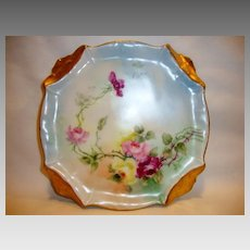 Gorgeous German Trivet / Pot Holder ~ Hand Painted with Pink, Red and Yellow Roses ~ C. Tielsch Germany
