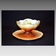 Adorable Master Salt / Ring Dish ~ Bavarian Porcelain ~ Hand Painted with Yellow Flowers ~ Rosenthal Germany 1907