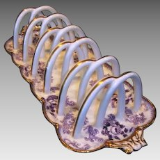 Awesome English China 5 slice Toast Rack / Holder ~ Purple Floral Transfers ~ Mintons England for Davis Collamore New York 1891-1911