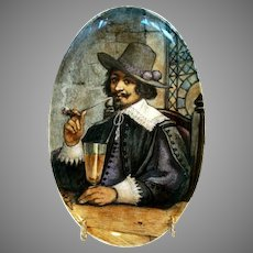 Wonderful Oval French Faience Plaque ~ Gentleman Smoking a Pipe Drinking a Glass of Beer ~ Signed Daniel Pot Jr ? ~ Hautin & Boulengar Choisy Le Roi France  ~1836 +