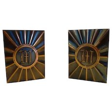 Nice Copper/Bronze Bookends with Monogrammed `M' ~ Attributed to Hyde Park by LE Mason Co Boston MA 1930's
