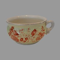 Awesome Earthenware Chamber Pot / Flower Pot ~ Yellow with Burnt Orange Flowers ~ DUNN, BENNETT & CO Ltd (Staffordshire, UK) - ca 1875 - 1920s