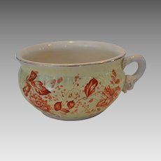 Awesome Earthenware Chamber Pot / Flower Pot ~ Yellow with Burnt Orange Flowers ~ DUNN, BENNETT & CO Ltd (Staffordshire, UK) - ca 1875 - 1920s