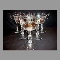 Set of 6 ~  Beautiful Champagne / Tall Sherbets 5 oz~ Cellini (loop Optic) pattern #6024 – Stem #6024 ~by Fostoria, Ohio 1938-1970