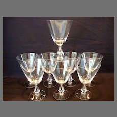 Set of 8 Clear Glasses ~  Beautiful Water Goblets  10 oz~ Symphony pattern #6065 – Open Stem #6065 ~by Fostoria, Ohio 1956-1970