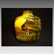 German Black Forest Majolica hand painted Tea Caddy / Flask ~ Mountain Chalet Scene ~ SMF Schramberg  Germany 1900's