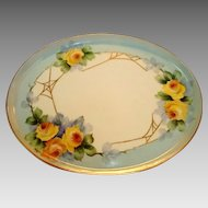 Gorgeous Limoges Porcelain Tray ~ Hand Painted with Yellow Roses & Golden Spider Webs ~ Tressemann & Vogt Limoges France 1892-1907