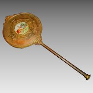 """Gorgeous 10K Gold Plated ~13 """" Hand  Mirror with Porcelain Medallion Victorian Style late 1800's"""