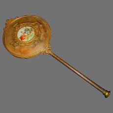 "Gorgeous 10K Gold Plated ~13 "" Hand  Mirror with Porcelain Medallion Victorian Style late 1800's"
