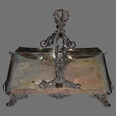 Ornate Quadrupled Plated Silver Tray / Basket with Handle ~ Hamilton Manufacturing CO Chicago IL~ Late 1800's Early 1900's