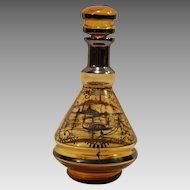 Beautiful Silver Overlay ~ Amber Glass Decanter ~ Venetian Scene