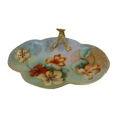 Beautifully Limoges Porcelain Nappy ~ Hand Painted with Orange & Yellow Nasturtiums Flowers ~ William Guerin ~ Limoges France 1900-1932
