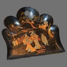Black Lacquer Paper Mache ~ Crumb Tray / Dust Tray ~ Decorated with Golden Chinoiserie Scene ~ Age: c1868 - 1912 (Meiji Period)