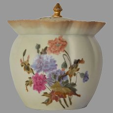 Beautiful Cracker / Biscuit Jar ~ German Bisque with colorful poppies ~ NEW YORK & RUDOLSTADT POTTERY (Importers from Germany) - ca 1887 - ca 1918