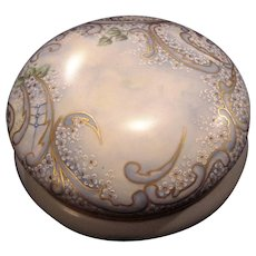 "Exquisite 7 3/4"" Austrian Bon Bon Jar / Dresser Box ~ Artist Signed & Dated ~ Hand Painted with White Enamel Flowers ~ OE&G Royal Austria ~Oscar and Edgar Gutherz, Austria 1899-1918"