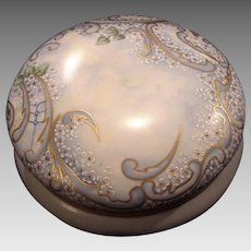 "50% OFF!  Exquisite 7 3/4"" Austrian Bon Bon Jar / Dresser Box ~ Artist Signed & Dated ~ Hand Painted with White Enamel Flowers ~ OE&G Royal Austria ~Oscar and Edgar Gutherz, Austria 1899-1918"