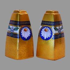 "Wonderful Salt & Pepper Shakers ~ ""Encrusted Linear"" Daisy Motif ~ Signed Osborn ~ Osborn Art Studios Chicago IL 1913-1918"