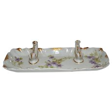 Awesome Pen Rest ~ Limoges Porcelain ~ Decorated with Wispy Purple Flowers ~ Charles Field Haviland / Gerard Dufraisseix & Morel Limoges France 1888-1896
