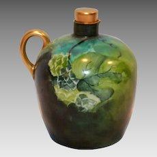 Unique Limoges Porcelain Jug / Ewer / Pitcher ~ Hand Painted with Grape Leaves ~ Artist Dated and Initialed ~  Tressemann & Vogt  ( T&V ) Limoges France 1892-1907