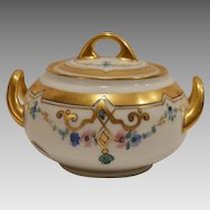 Beautiful Bavarian Covered Sugar Bowl ~ Hand Painted Art Nouveau Flowers ~ Pickard Studios Chicago Il / Hutschenreuther Selb Bavaria 1912-1918