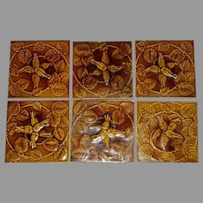 Set of (6) Gorgeous Olive Green Majolica Tiles ~ Raised Relief Honeysuckle ~ Floreat Salopia ~ Broseley ~ Maw & CO. Jackfield, England ca. 1860-1880