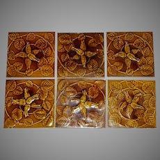 Set of (6) Gorgeous Olive Green Majolica Tiles ~ Raised Relief Honeysuckle ~ Floreat Salopia ~ Broseley ~ Maw & CO. Jackfield, England ca. 1860-1880