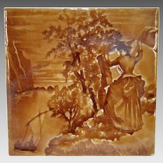 Amazing Majolica Tile in a Deep Brown Color Glaze ~ Impressed Relief Image of a Victorian Woman ~ American Encaustic Tiling Company Zanesville OH 1890's