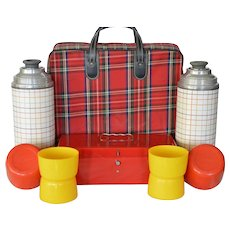 Vintage Red Tartan Plaid Aladdin Thermos Outing / Picnic Kit ~ w/ 2 Thermos, 4 cups Metal Sandwich Box ~ ca 1960's 1970's