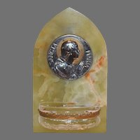 Beautiful French Holy Water Font ~ Catholic ~ 10K gold ~ Sancta Maria ~ Signed Tairac