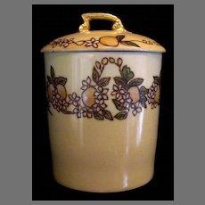 Jelly Can/ Jar Holder ~ Limoges Porcelain ~ Hand Painted with Yellow Orange Fruit ~ Tressman & Vogt  ( T&V )  1892-1907
