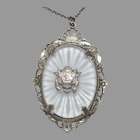 Vintage  Camphor Glass Pendant w/ The Great Seal of the United States Sterling Silver