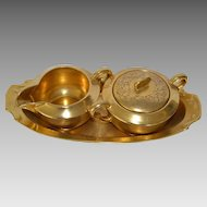 Elegant Gold Embossed Porcelain Creamer and Sugar Set w/ Tray ~ Hand Painted with AOG Rose and Daisy Design ~ Pickard Studios Chicago IL 1919-30 Pfieffer Lowenstein Bohemia