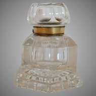 Large Elegant Cut Glass Inkwell ~ 6 Sided ~  Brass Rim & Hinge late 1800's – Early 1900's