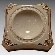 Unique Porcelain Horderve/Dip Dish ~ White with Gold Accents