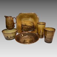 6 English Pieces Bowls, Glasses and Creamer~ Ship Scenes ~ Royal Vista ~ Ridgways England 1880-1900